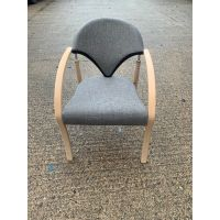 Grey & Wooden Visitor Chair