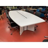 White Boardroom Table with Black Inlay