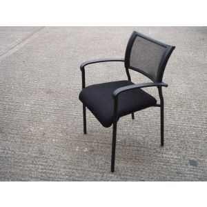 Black Framed Mesh Back Meeting Chair
