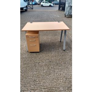 Beech Desk 1200x800 With Slimline Pedestal