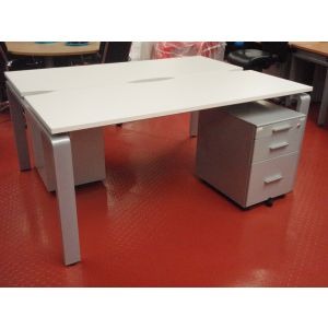 2 Person Bench Desk and Pedestals