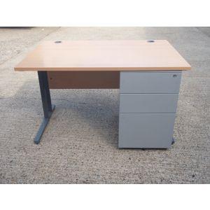 Beech 1200 x 800 Desk with Mobile Pedestal