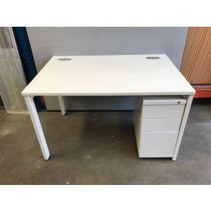 White Bench Desk with Slimline Pedestal