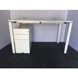 Haworth White Bench Desk with Slimline Pedestal