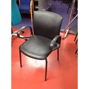 Black Rexine Office Chair with Arms
