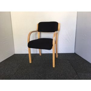 Black & Wooden Frame Meeting Chair with Arms