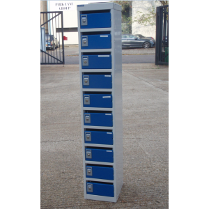 Blue - Grey 10 Door Post Security Locker