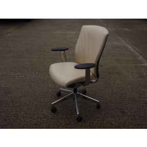 Cream Leather Swivel Base Desk Chair