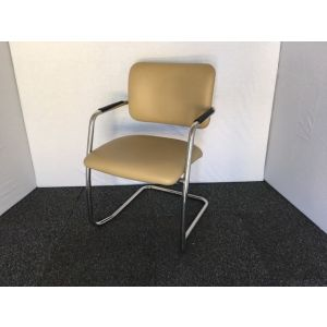 Cream Leather & Chrome Meeting Chair