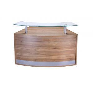 Low Glass Top Curved Reception Desk Unit