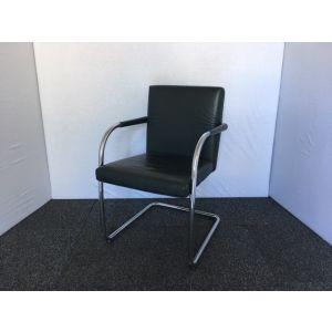 Dark Green Leather & Chrome Meeting Chair