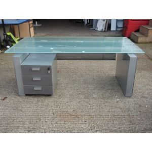Executive Glass Top Desk with Pedestal