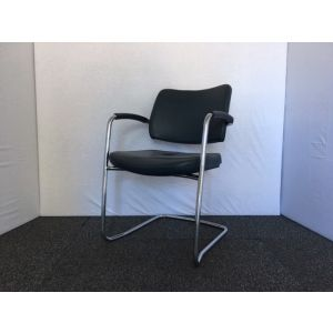 Green Leather & Chrome Meeting Room Chair