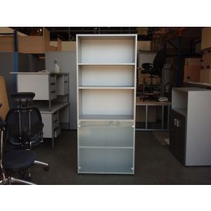 Grey and Glass Storage Cupboard