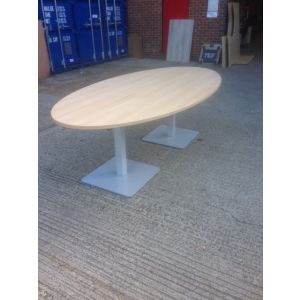 Oak Meeting Table On Pedestal Base