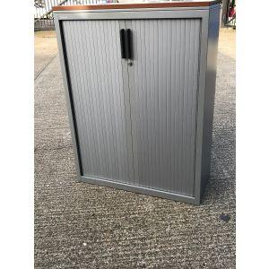Side Closing Silver Tambour Storage, Walnut Top