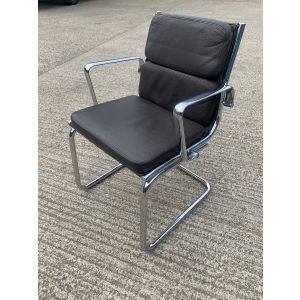 Italian Brown Padded Side Chair