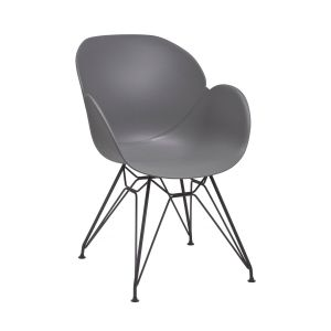 Linton Grey Arm Chair with Black Steel Frame