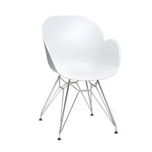 Linton White Arm Chair with Chrome Frame