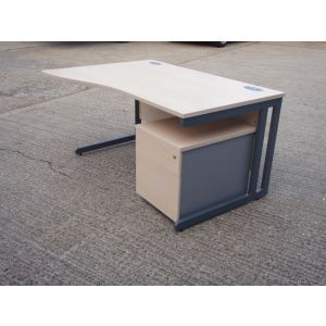 Maple 1400 Wave Desk and Mobile Pedestal