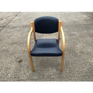 Navy Leather Meeting Chair with Arms