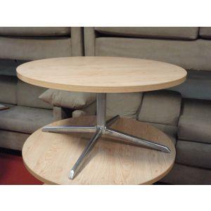 Oak Pedestal Base Coffee Table