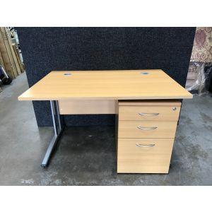 Oak 1400x800 Desk + Pedestal