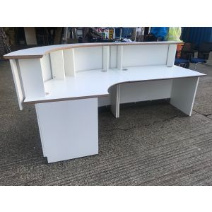 White Curved Reception Desk