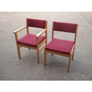 Red Upholstered set of Chairs