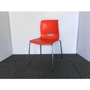 Red & Chrome Stacking Chair