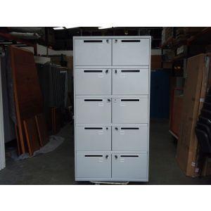 Light Grey 10 Door Post- Cabinet with Keys