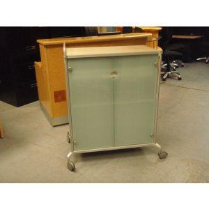 Glazed 2 Door Storage Cabinet on Wheels