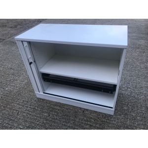 White Tambour Storage Unit