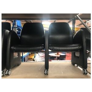 2 Seater Black Leather Reception Chair
