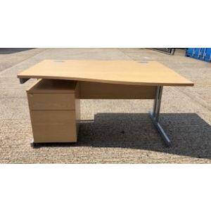 Oak Wave Desk with Matching 2 Draw Pedestal