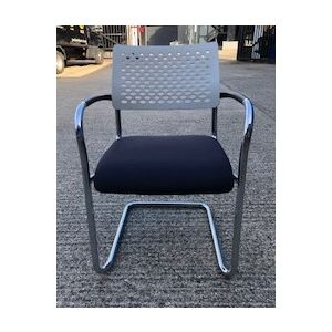 Kusch Black & Chrome White Perforated Back Visitor Chair