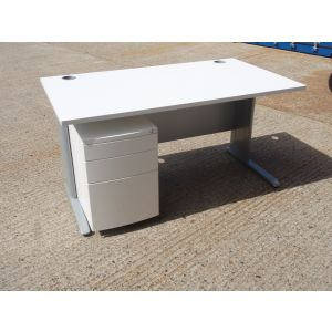 White 1400 x 800 Desk and Mobile Pedestal