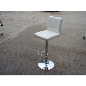 White and Chrome Adjustable Height Stools