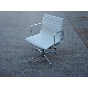 White Leather Ribbed Back Italian Desk Chair