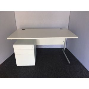 White 1400x800 Desk & Pedestal
