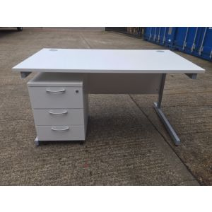 White 1400x800 Desk & Pedestal