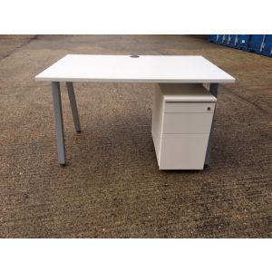 White 1200x800 Desk & Slimline Pedestal