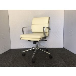 White Leather Pad Back Operator Chair