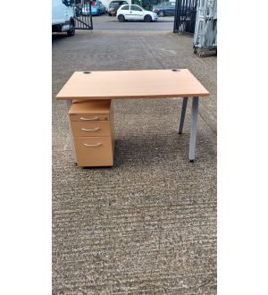 Beech Desk 1200x800 With Slimline Pedestal