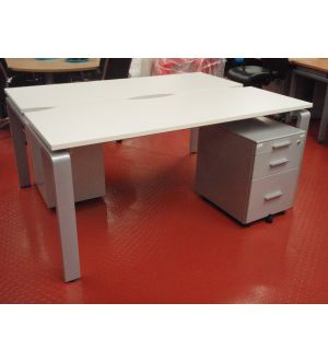 2 Person Bench Desk and Pedestals