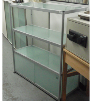 Grey Glass 3 Tier Unit with Sliding Doors to Base