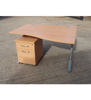 Beech 1200 FT2 Wave Desk with Beech Pedestal