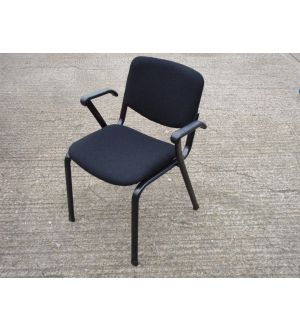 Black and Black Framed Stacking Chairs