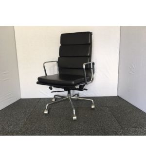 Black High Back Leather Italian Padded Desk Chair