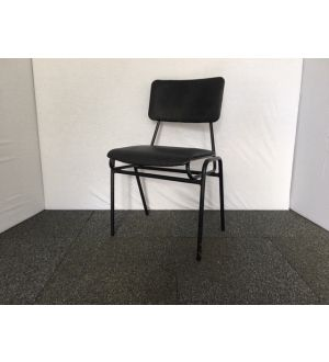 Black Leather Stacking Chair